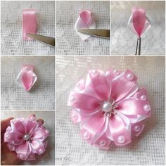 How to DIY Two-tone Ribbon Flower | www.FabArtDIY.com LIKE Us on Facebook ==> https://www.facebook.com/FabArtDIY