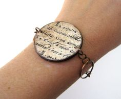 Antique Script  Vintage looking bracelet by CheekyChickDesigns, $18.00