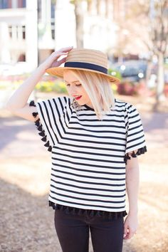 Stripe Tassel Top - Black And White Spring Styling - Poor Little It Girl