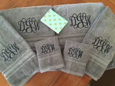 Excellent quality Charisma brand embroidered towel sets. These towels are thick, plush, and personalized! Luxury Charisma towels. 100% Cotton.