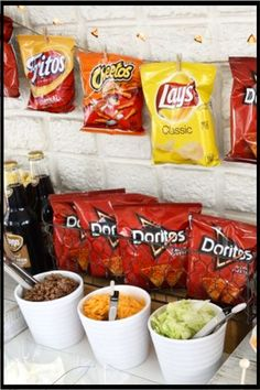 Cookout food ideas - having a BBQ party or birthday party outdoors (or indoors) - make a Taco bar like this
