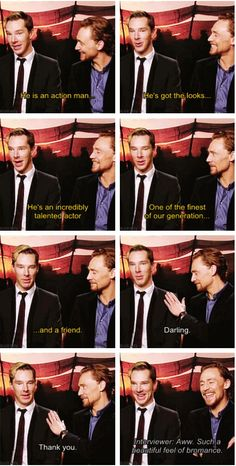 "(SUB)(GIF) Benedict Cumberbatch Tom Hiddleston - I feel like they both ""ehehhe!""ed Instead of ""hahaha!""ed at the end! :D"