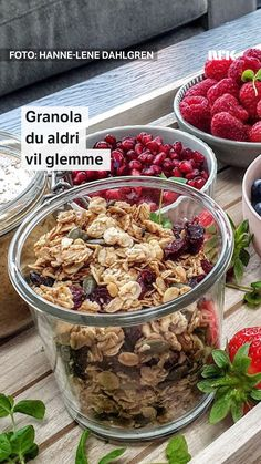Hanne-Lene Dahlgrens uforglemmelige frokostblanding. Cobbler, Cereal, Food And Drink, Pumpkin, Snacks, Baking, Breakfast, Desserts, Morning Coffee