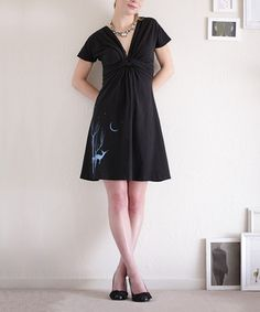 This Black Woodland Animals Twisted Tie-Waist Dress by Zoe's Lollipop is perfect!