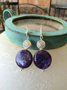 Earrings with genuine amethyst and silver beads by ForgetmenotM on Etsy