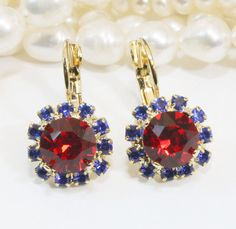 Blue Red Earrings Patriotic 4th of July Crystal Gold by TIMATIBO