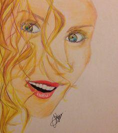 Portrait with colour pencils.