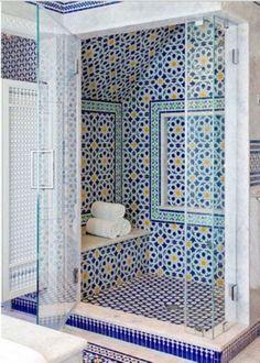 Blue Moroccan Mosaic Tile Bathroom Moroccan bathroom decor Spanish style home . bathroom blue decor hom moroccan mosaic Simple bathroom ideas in the Bathroom Styling, Bathroom Interior Design, Restroom Design, Spanish Style Bathrooms, Moroccan Bathroom, Douche Design, Shower Remodel, Tub Remodel, Beautiful Bathrooms