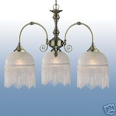 VICTORIAN STYLE ANTIQUE BRASS TRIPLE LAMP CEILING LIGHT