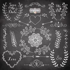 Check out Chalkboard Rustic wedding clipart by burlapandlace on Creative Market