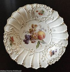 Large-11-1-2-MEISSEN-Porcelain-FRUITS-Charger-Plate-Bowl-1
