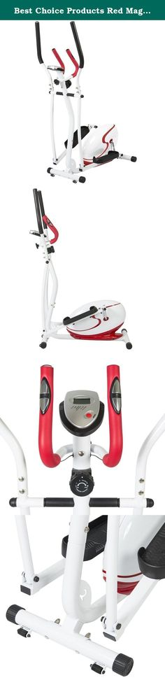 Best Choice Products Red Magnetic Elliptical Trainer Fitness Space Saver Machine Cardio Workout Gym. Best Choice Products is proud to present this brand new Magnetic Elliptical Trainer. This indoor elliptical trainer has an 8-level magnetic tension controller that is designed for a low-impact workout that helps to tone your upper and lower body. The elliptical features large non-slip platforms for your feet as you work out and exercise. This elliptical is perfect for exercising at the...