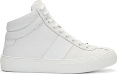 Jimmy Choo - White Grained Leather Belgravi High-Top Sneakers