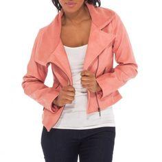 Asymmetrical Zipper Jacket with Knit Collar