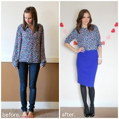 turn a big ugly button down into an adorable blouse with buttons down the back