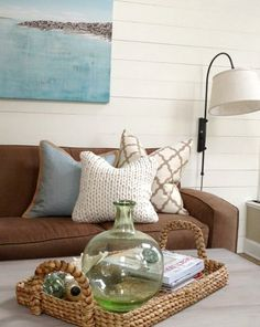 basket trays for coastal style decorating living room