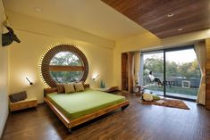 An Exposed Brick Front Elevation Gives the Villa an Evergreen Look Master Bedroom Design, Home Decor Bedroom, Modern Bedroom, Bedroom Ideas, Circular Buildings, Exposed Brick, Architect Design, Apartment Interior, Luxurious Bedrooms