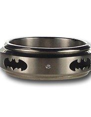 Batman Symbol Silver Stud Spinner Ring