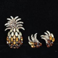 Schiaparelli Amber-colored Pineapple Pin & matching Clip on Earrings