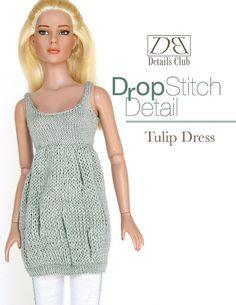 Knitting pattern for 16 inch fashion doll: Tulip Dress