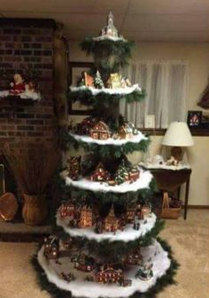 Weihnachten Want to make your own Christmas tree show your Christmas village. After purchasing, send Christmas Tree Village Display, Creative Christmas Trees, Christmas Villages, Xmas Tree, Christmas Tree Decorations, Christmas Houses, Decorated Christmas Trees, Christmas Displays, Miniature Christmas