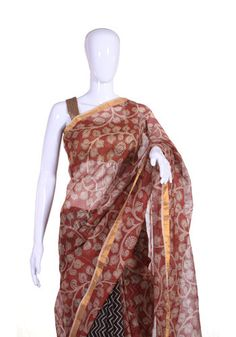 Handpainted Kalamkari Kota Silk Saree – Desically Ethnic