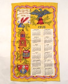 Vintage 1976 Patriotic Pride on a Tea Towel Fantastic Condition calendar towel Super bright graphics Excellent gift Linen 15 x 15 awesome inches No rips stains, light fraying at hem on backside 1970s Childhood, Childhood Memories, Vintage Calendar, Old Ads, Retro Toys, My Memory, Vintage Ads, Vintage Kitchen, Fourth Of July