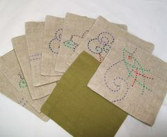Vintage Square Coasters Linen Fabric Embroidered by pinkpainter