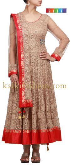 Buy it now  http://www.kalkifashion.com/brown-anarkali-dress-with-thread-work.html  Brown anarkali dress with thread work