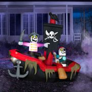 5.5' Tall x 6' Long Airblown Inflatable Halloween Pirate Dingy in Boat