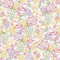 ベクター ライン アート ブドウ ブドウのシームレスなパターン背景手描きの果実と葉を持つ — ストックイラストレーション #15914927
