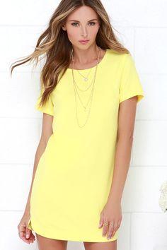 basic yellow shift dress