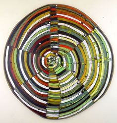 Layered Disc #3, 23 inches, acrylic, ink, carving on shaped wood, (c) 2015 Barbara Gilhooly
