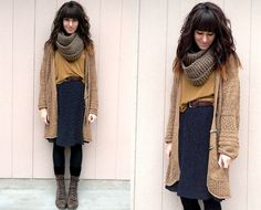 Mostly the hair. Think I will have bangs like this again once it's long enough! plus I like the scarf & boots!
