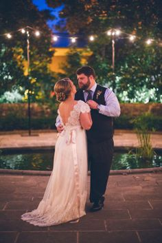 Gorgeous outdoor lighting for the first dance | Three Pennies Photography | Theknot.com