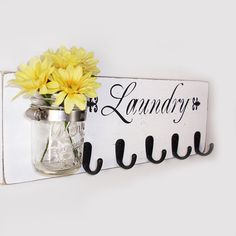 Laundry Sign With 5 Hooks - White  With Black Vinyl Lettering- French Chic- Shabby- Country Decor on Etsy, $42.00
