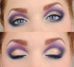 Purple and gold smudged smokey eye