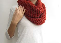 Orange chunky infinity scarf, knit loop scarf, warm winter scarf