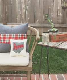 Outdoor Chairs, Outdoor Furniture, Outdoor Decor, Stain Techniques, Pillow Crafts, Coffee Staining, Ohio State Buckeyes, Throw Pillows, Projects