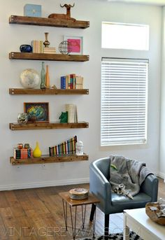 How To Stage Shelves - 1. Start with books, they fill space and are good visuals.  Stand them up, lay them flat, face the spines out, bind them together... Books are a staple.  2.  Add large visually weighty things next.  3.  Add all the small details.