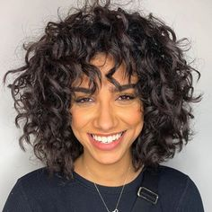 15 Pretty Spring Haircuts To Freshen Up Your Look Medium Curly Haircuts, Haircuts For Curly Hair, Hairstyles With Bangs, Curly Hair Cuts Medium, Curly Shag Haircut, Popular Hairstyles, Naturally Curly Haircuts, Curly Hairstyles For Medium Hair, Braided Hairstyles