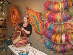 Montana Blue Heron's Marilyn Stevens weaving a basket | by Experience Scottsdale