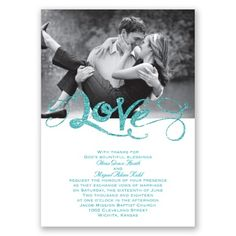 love sparkles wedding invitation - teal | glitter wedding invites at Invitations By Dawn