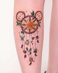 Cute, Disney Inspired Dream Catcher Tattoo dream catcher disney 43 Cute Tattoos for Girls That Will Melt Your Heart Cute Girl Tattoos, Tattoo Girls, Trendy Tattoos, Small Tattoos, Tattoos For Women, Cool Tattoos For Girls, Diy Tattoo, Get A Tattoo, Tattoo Ideas