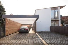 modern Garage/shed by Architekt Armin Hägele If you thought garages are always dull and drab, then these 11 will show you they can be much more than just a boring carport. Car Porch Design, Garage Design, House Design, Wall Design, Carport Designs, Pergola Designs, Pergola Ideas, Pergola Shade, Pergola Patio