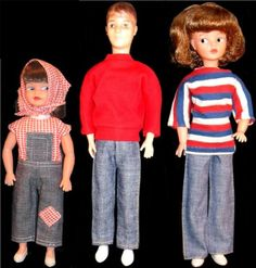 Here is Sindy in her bell-bottom blue jeans; her boyfriend Paul in his hipster jeans and her sister Patch in her dungarees. Don't they look fab-tastic! I spent ages playing with these dolls!