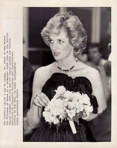 3 April 1985: Charles & Diana open the Wolfson Galleries of Classical Sculpture & Inscriptions, British Museum, London.  Diana wearing a strapless black gown.