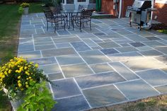 Bluestone Patio Design Stone Patio Designs Front Porchback with regard to measurements 2160 X 1440 Blue Stone Patios Designs - If you are minding your own Concrete Patios, Bluestone Patio, Brick Patios, Backyard Layout, Backyard Patio, Backyard Landscaping, Backyard Ideas, Patio Stairs, Pergola Ideas