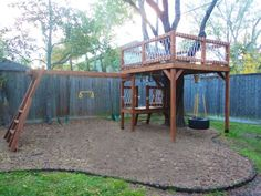 Incorporating a tree into a swingset.