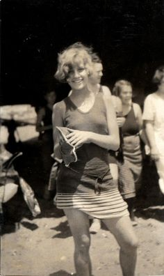 Young girl in swimsuit of the 1920s